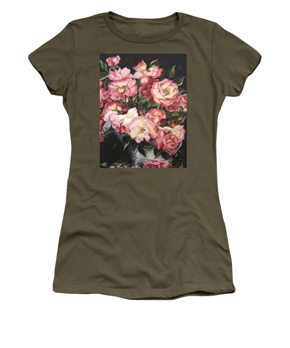 Pink Roses Floral Flowers Women's T-Shirt (Athletic Fit) featuring the painting Roses In A Watercan by Karin Dawn Kelshall- Best
