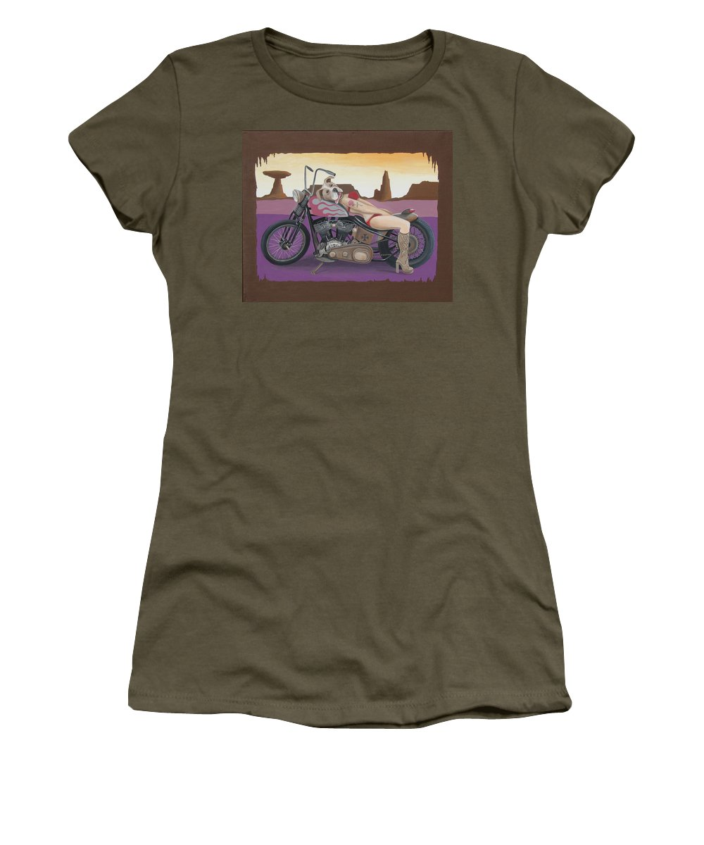 Motorcycle Women's T-Shirt (Athletic Fit) featuring the painting Rosie The Pitbull Pinup by Stuart Swartz