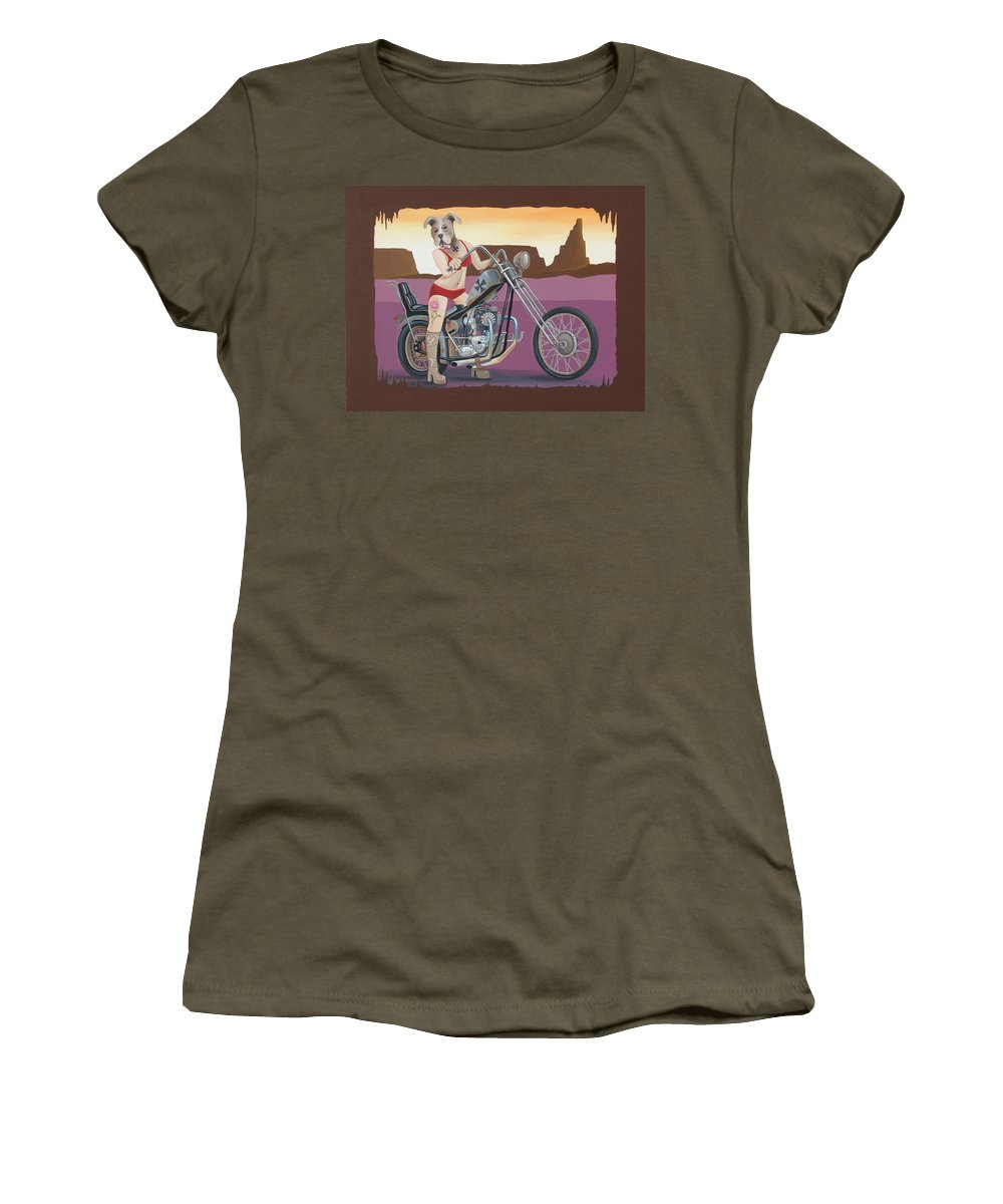 Motorcycle Women's T-Shirt (Athletic Fit) featuring the painting Rosie's Chopper by Stuart Swartz