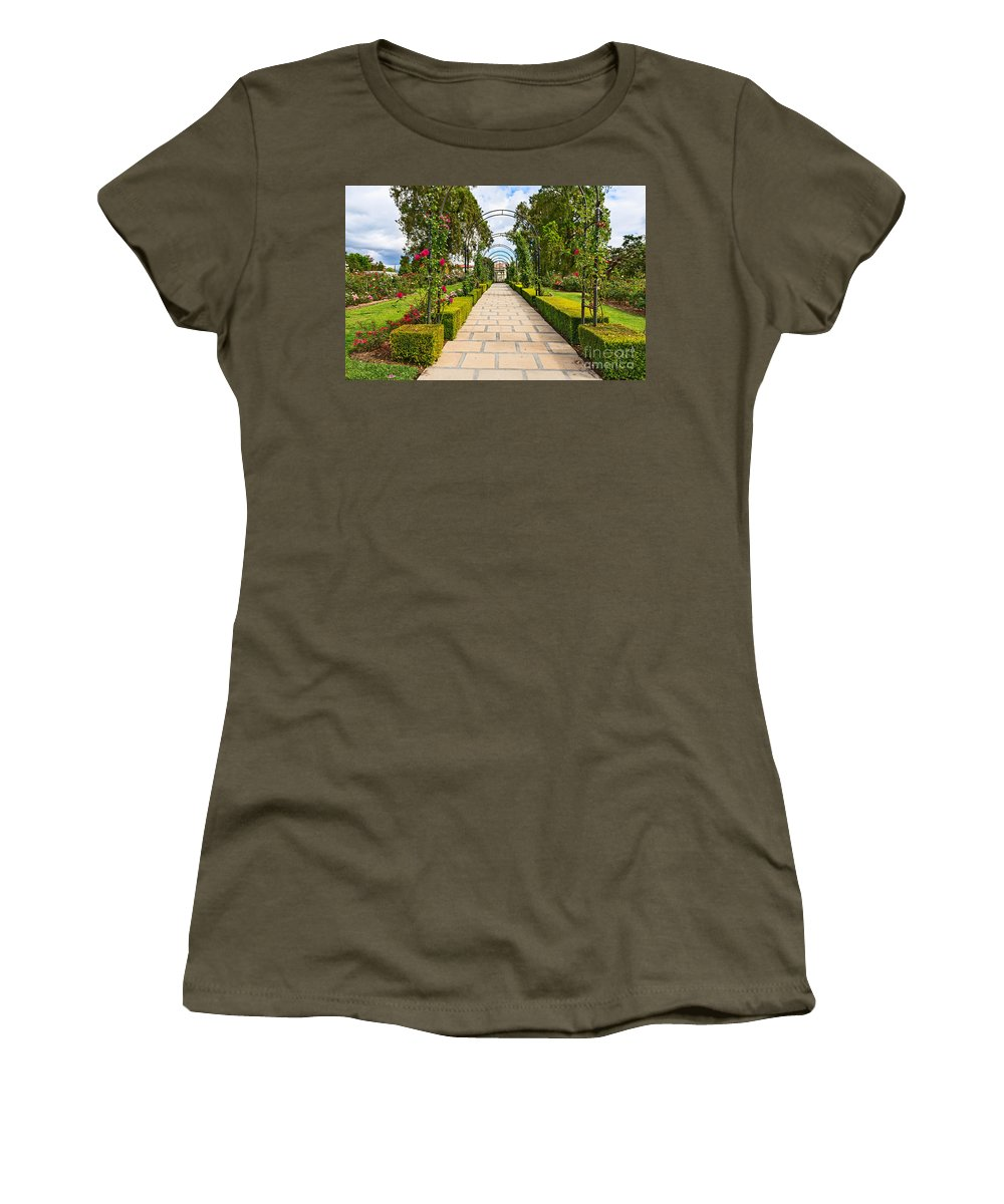 Rose Garden Women's T-Shirt featuring the photograph Rosy Path by Jamie Pham