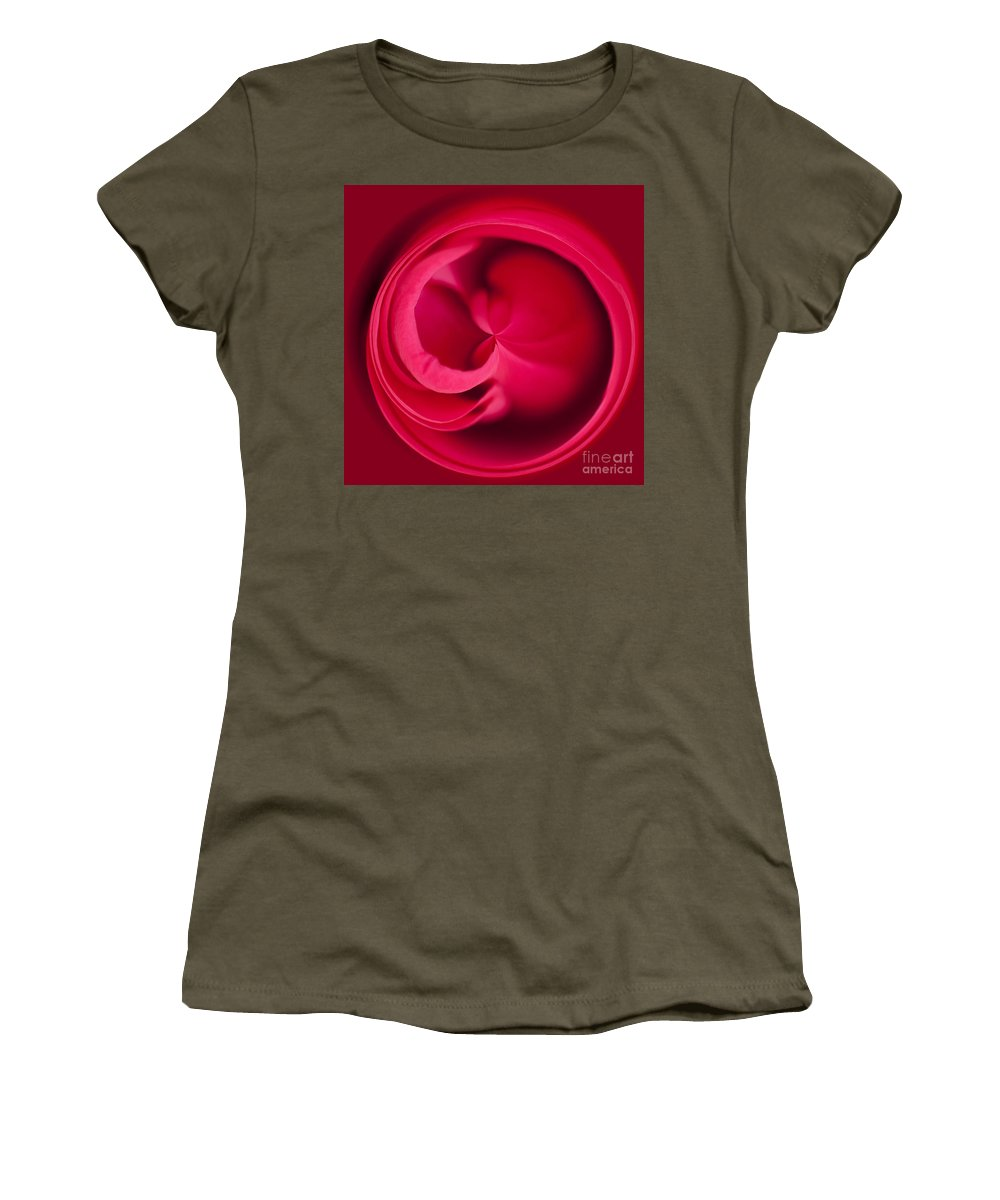 Rosa Women's T-Shirt (Athletic Fit) featuring the photograph Round Rose by Anne Gilbert
