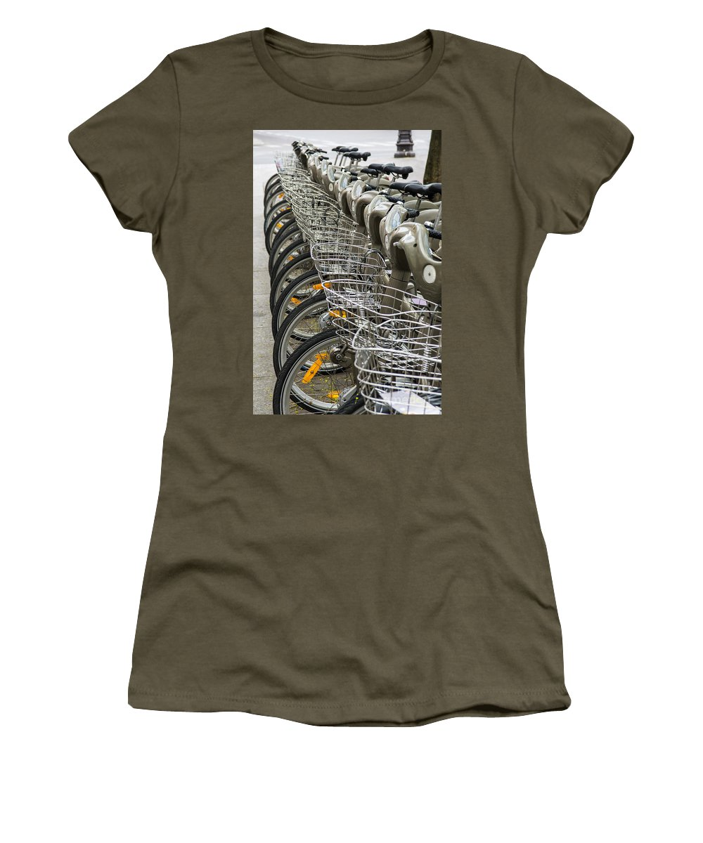 City Women's T-Shirt featuring the photograph Row Of Bicycles by Carlos Caetano