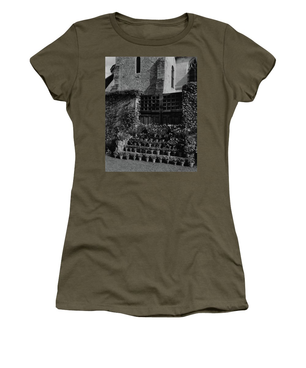 Architecture Women's T-Shirt featuring the photograph Rows Of Pot Plants Lined On The Steps Of A Garden by Emelie Danielson