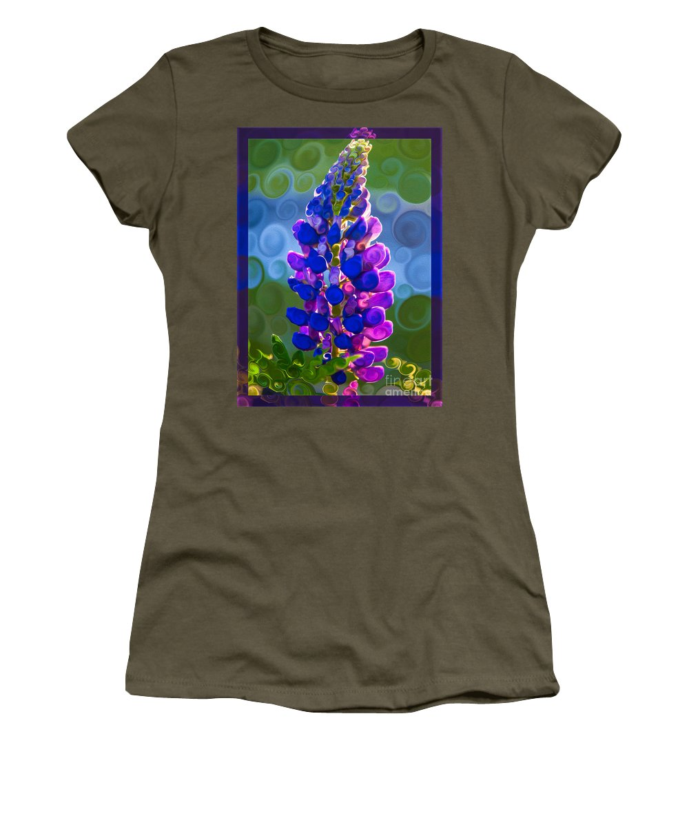 Royal Purple Lupine Flower Abstract Art Women's T-Shirt featuring the painting Royal Purple Lupine Flower Abstract Art by Omaste Witkowski