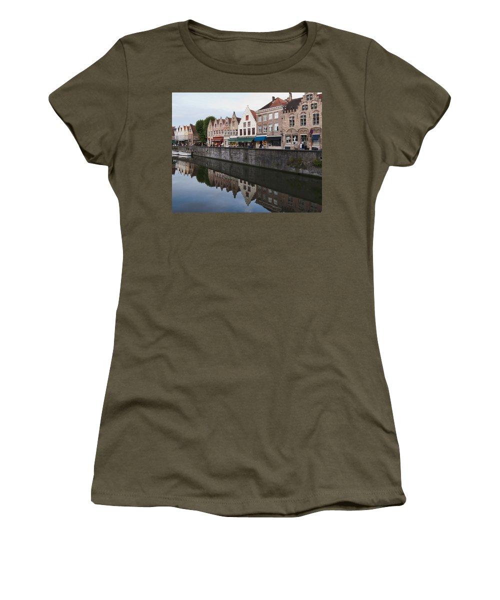Rozenhoedkaai Bruges Women's T-Shirt (Athletic Fit) featuring the photograph Rozenhoedkaai Bruges by Phyllis Taylor