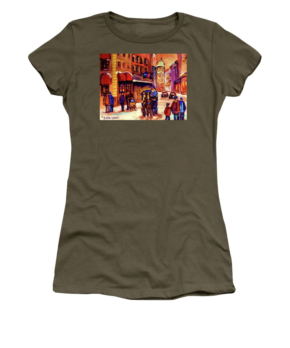 Montreal Women's T-Shirt featuring the painting Rue St. Paul Old Montreal Streetscene In Winter by Carole Spandau