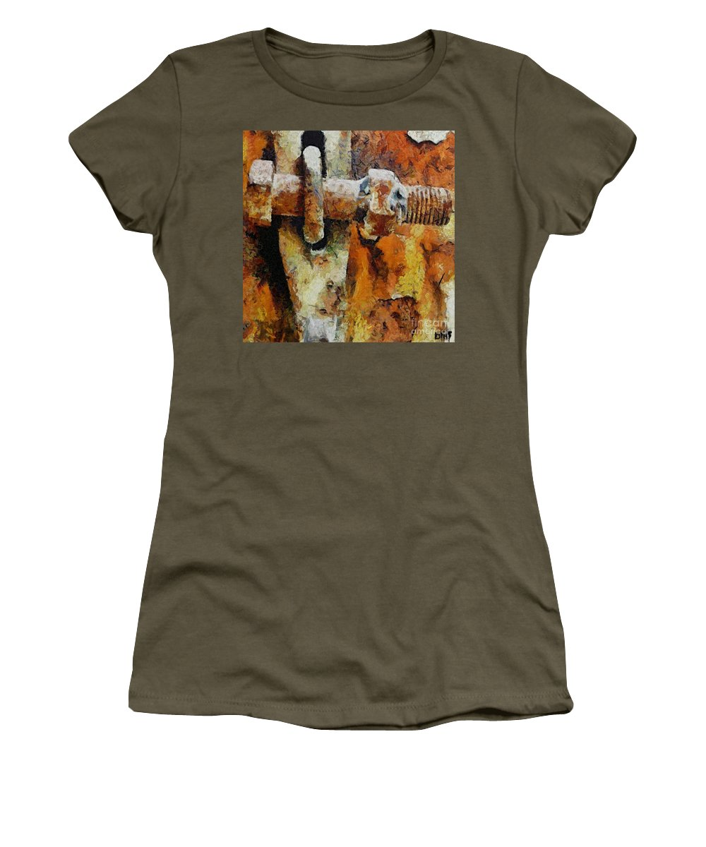 Gate Women's T-Shirt featuring the painting Rusty Gate by Dragica Micki Fortuna