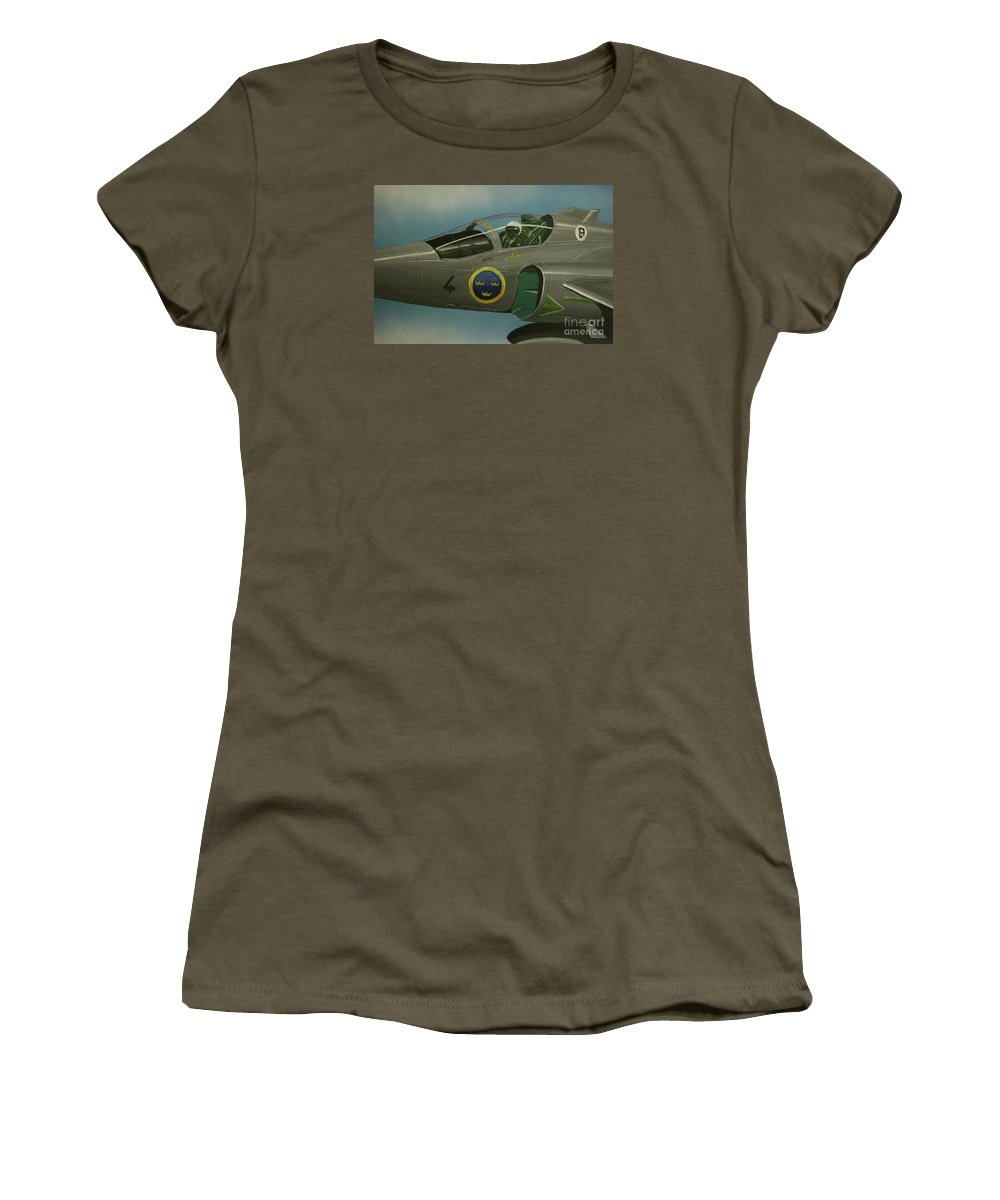 Swedish Air Force Women's T-Shirt (Athletic Fit) featuring the painting Saab Viggen Gruppo 4 Cockpit by Richard John Holden RA