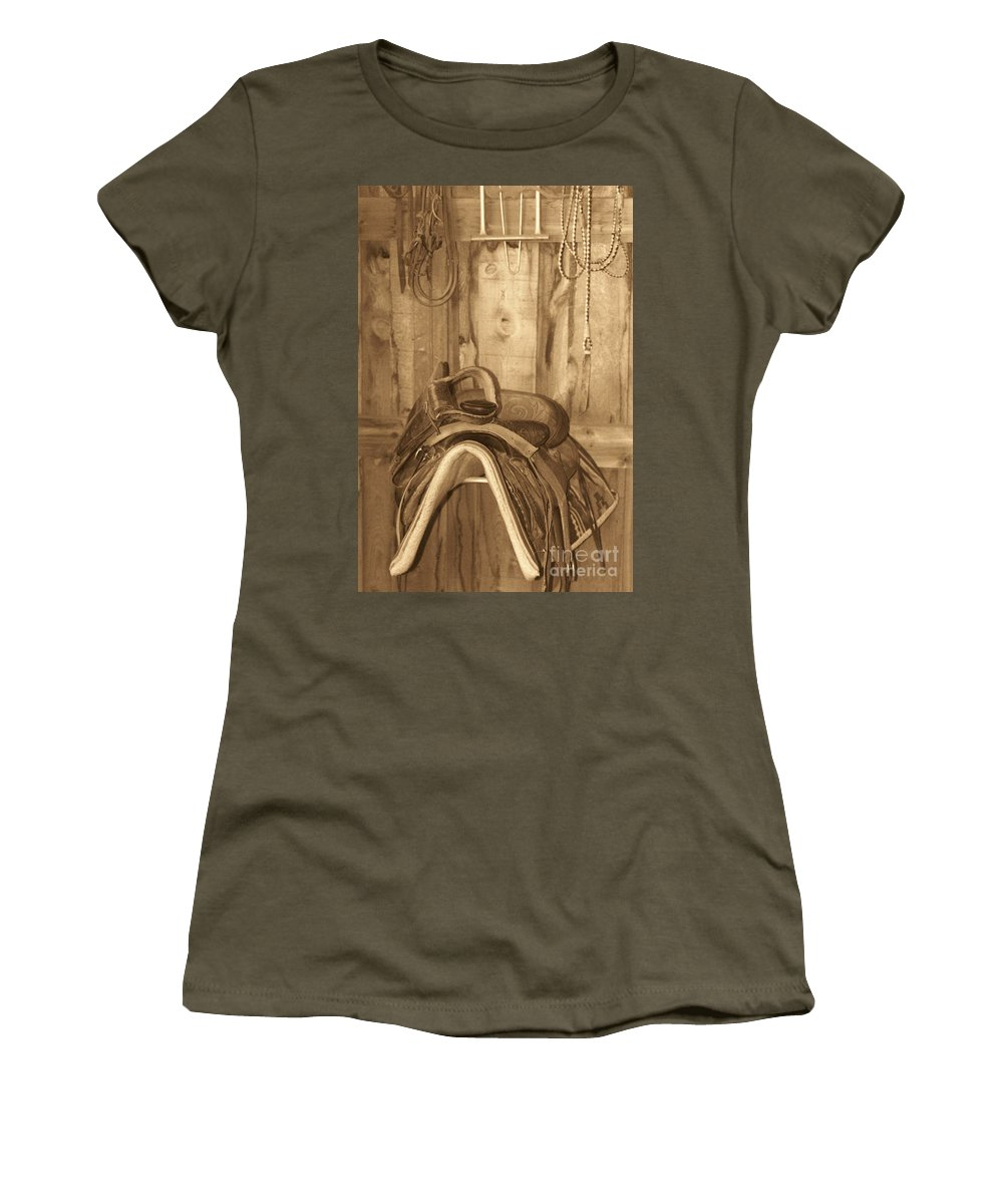Saddle Women's T-Shirt (Athletic Fit) featuring the photograph Saddle by Brandi Maher