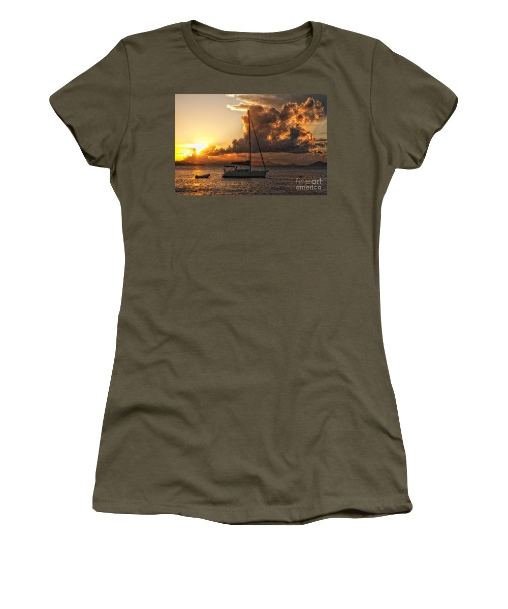 Sailboat Women's T-Shirt featuring the photograph Sailboat In Sunset by Timothy Hacker