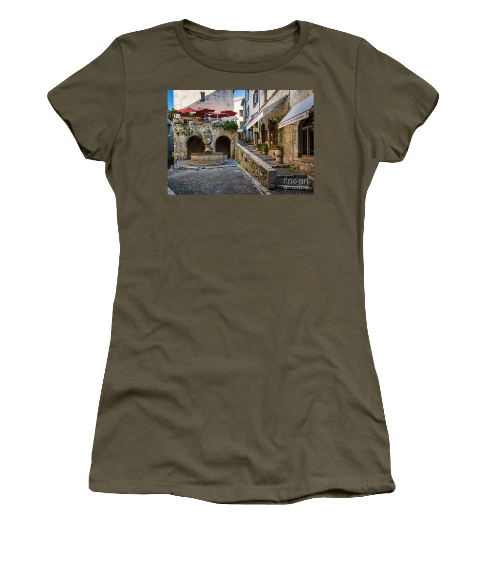 Cote D'azur Women's T-Shirt featuring the photograph Saint Paul Square by Inge Johnsson