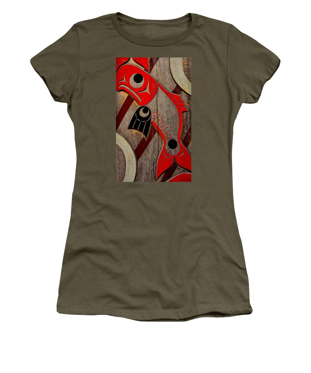 Totem Pole Women's T-Shirt featuring the photograph Salmon by G A Fuller Photography