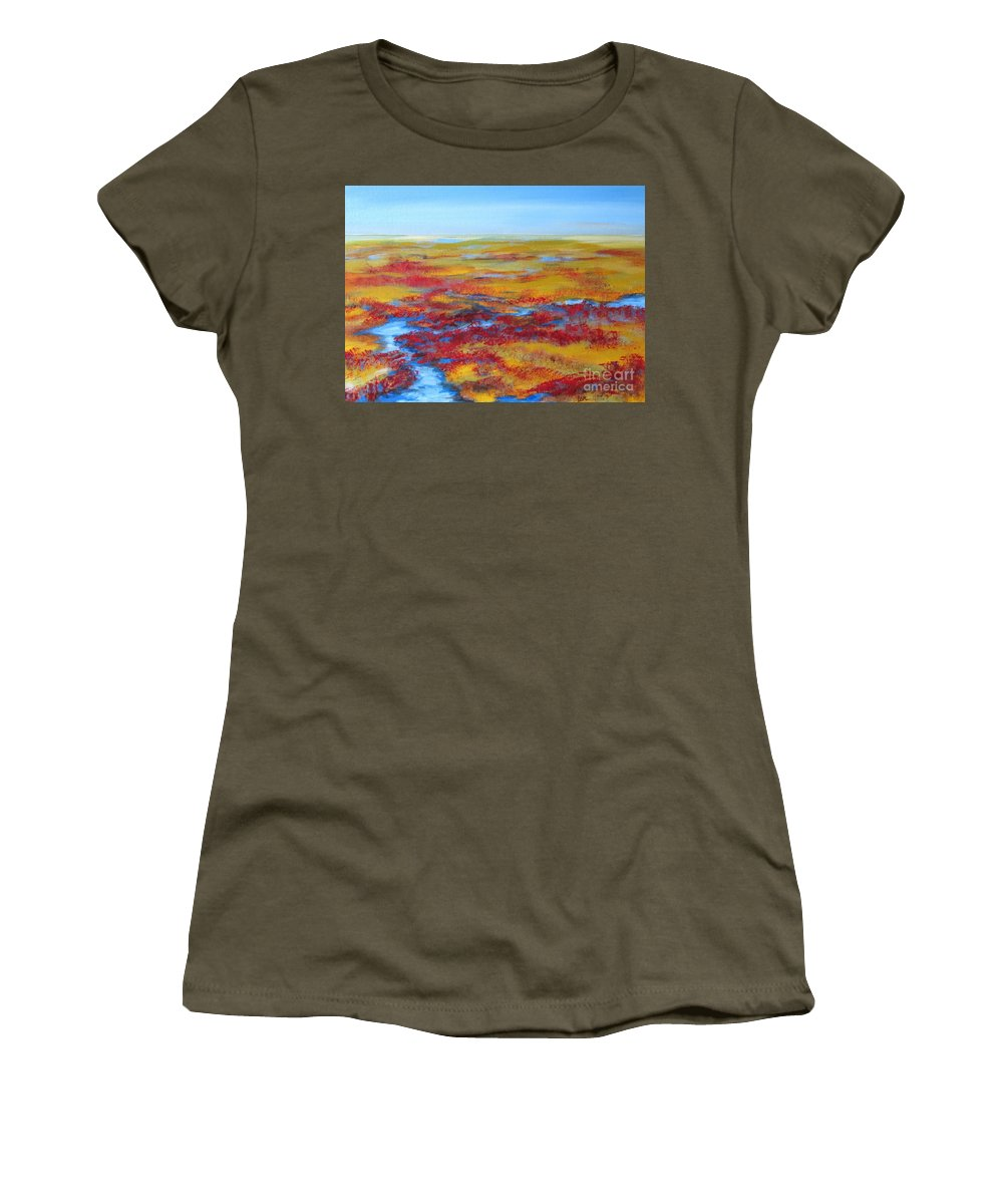 Landscape Women's T-Shirt (Athletic Fit) featuring the painting Salt Marsh In Early Autumn by Lorraine Centrella