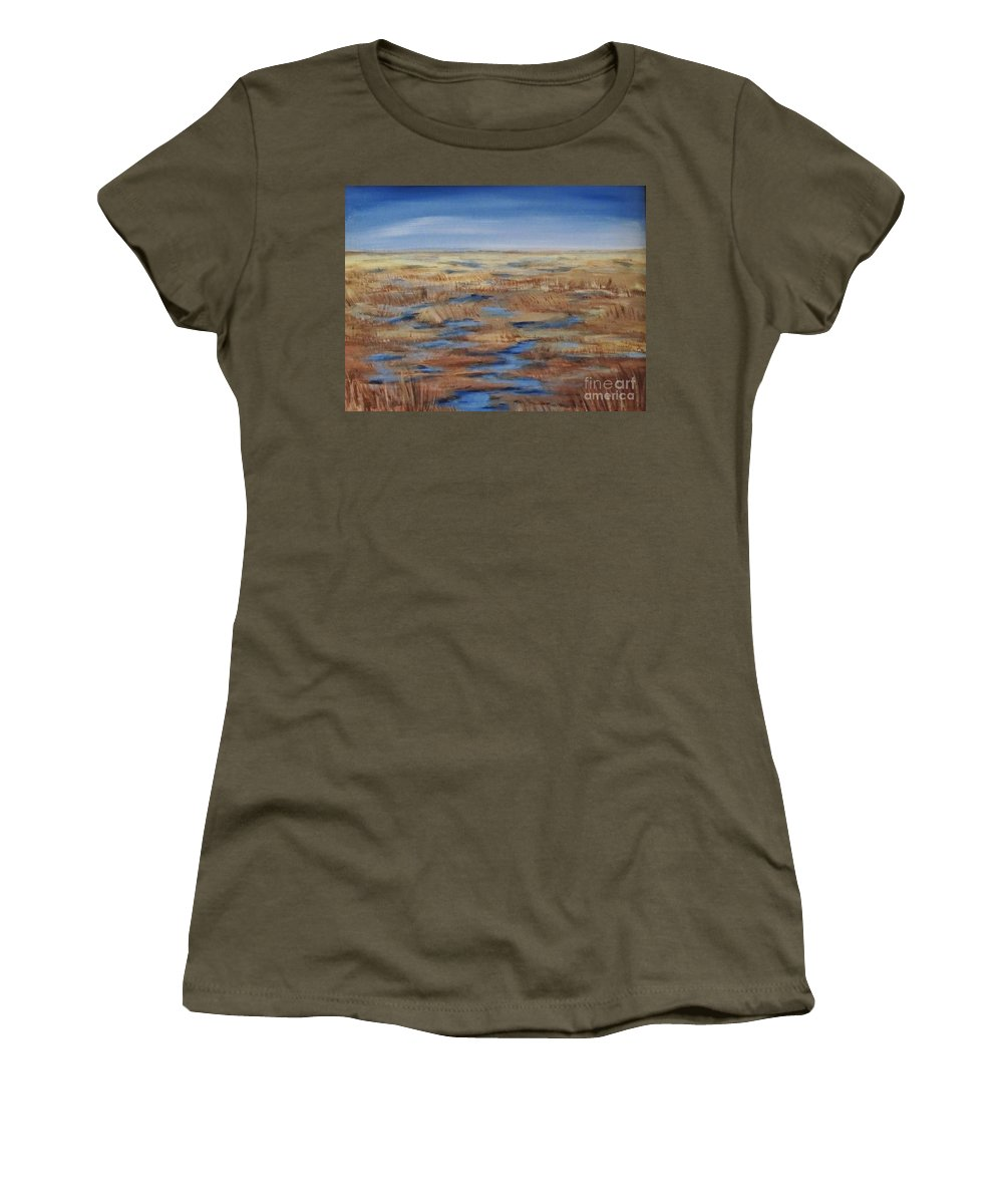 Landscape Women's T-Shirt (Athletic Fit) featuring the painting Salt Marsh In Summer by Lorraine Centrella