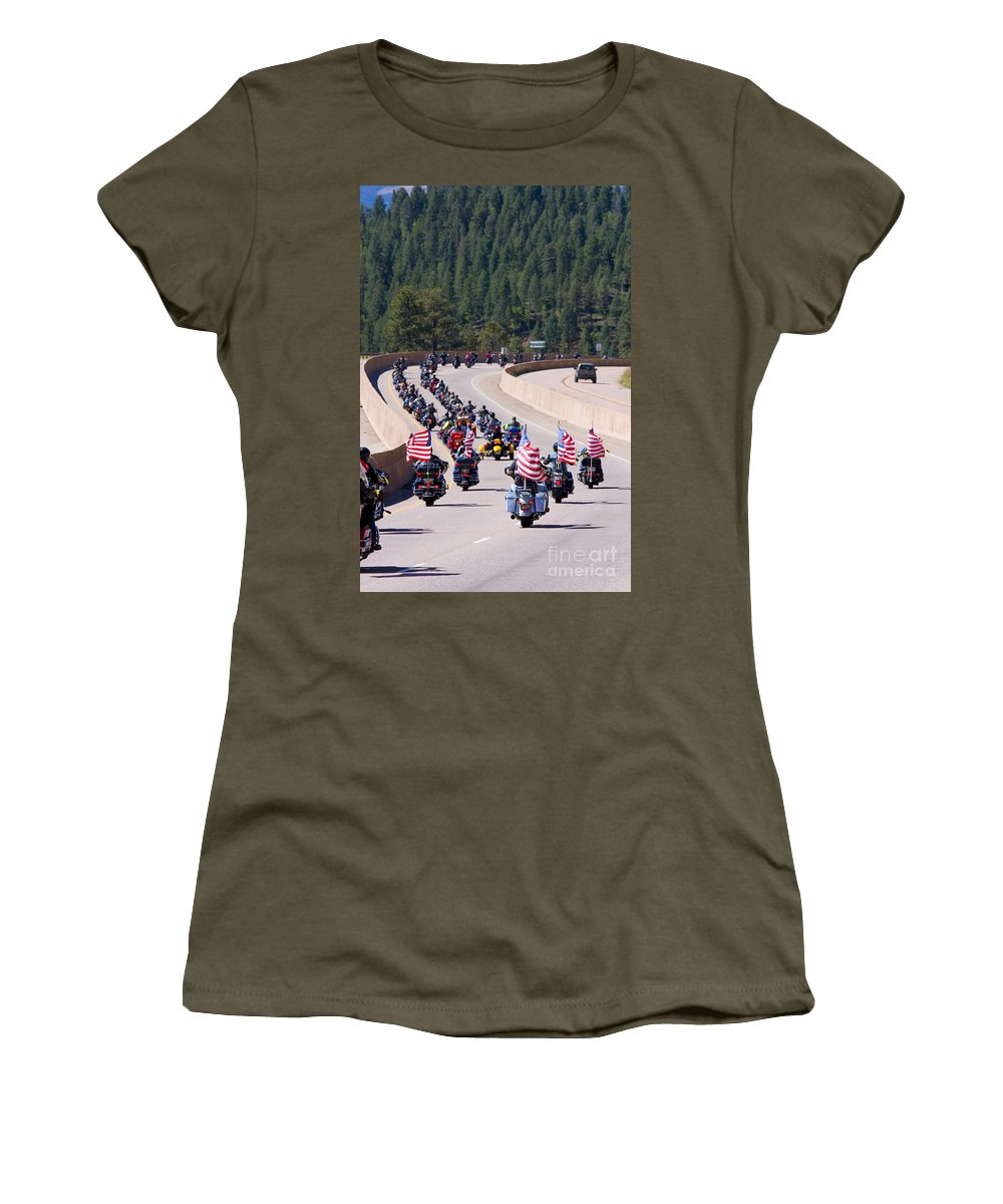 Motorcycle Women's T-Shirt featuring the photograph Salute To Veterans Rally by Steve Krull