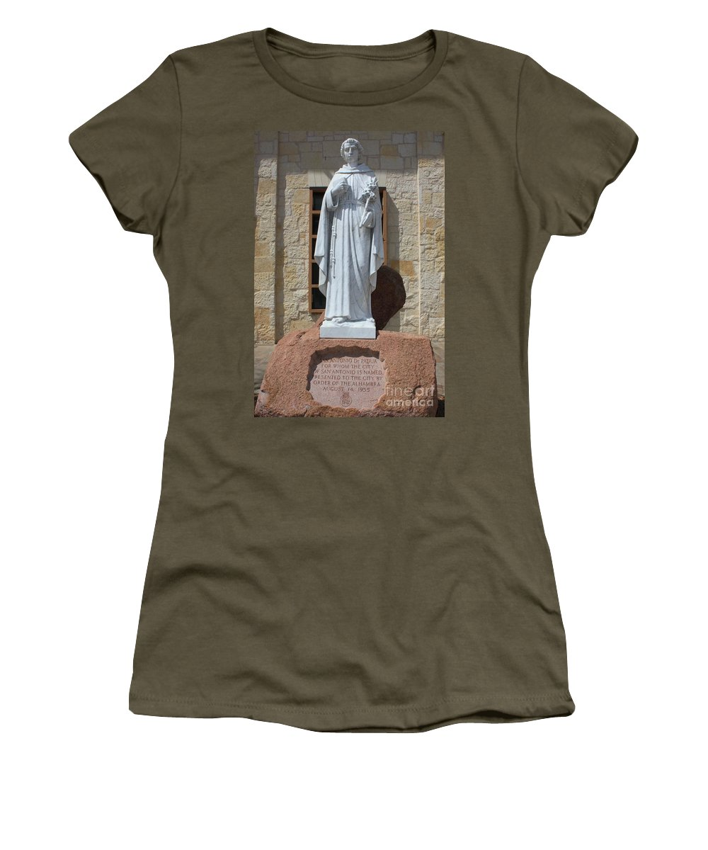 San Antonio Women's T-Shirt (Athletic Fit) featuring the photograph San Antonio Statue by Carol Groenen