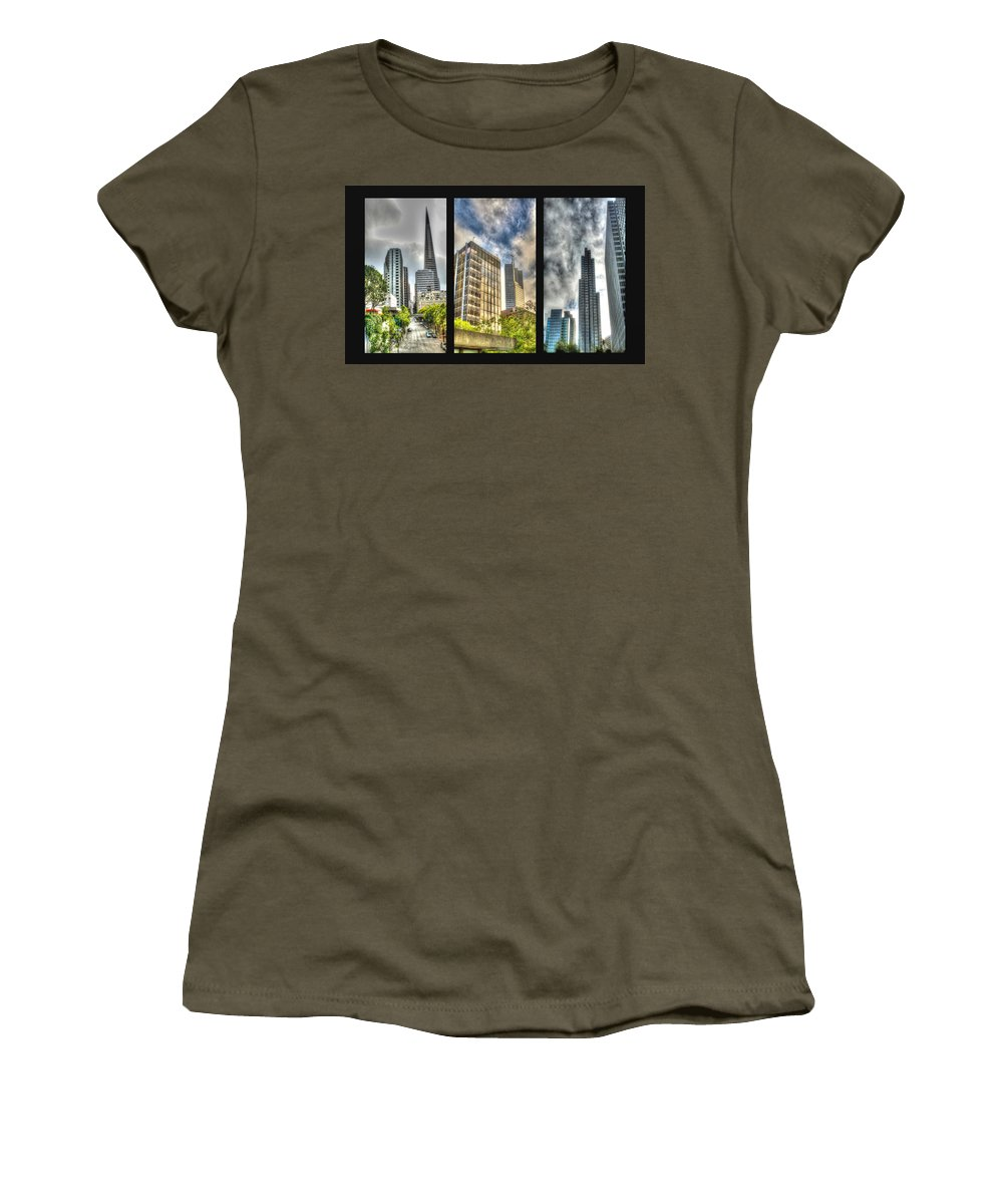 Architecture Women's T-Shirt featuring the photograph San Francisco Embarcadero Panel by SC Heffner