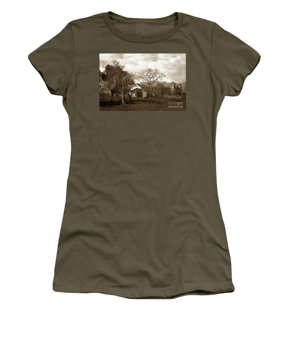 Santa Barbara Mission Women's T-Shirt featuring the photograph Santa Barbara Mission California Circa 1890 by California Views Archives Mr Pat Hathaway Archives