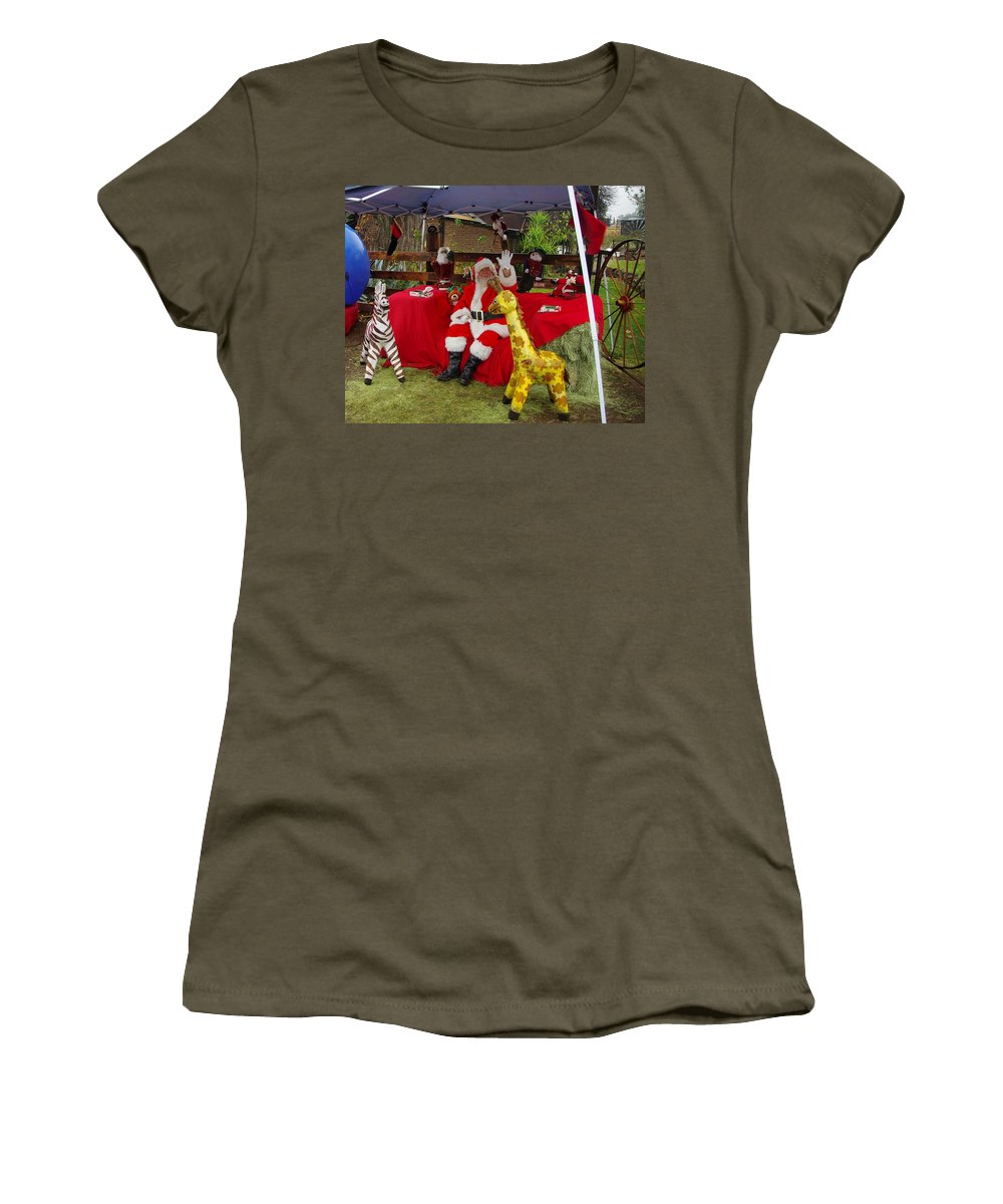 Santa Claus Women's T-Shirt featuring the photograph Santa Clausewith The Animals by Phyllis Spoor