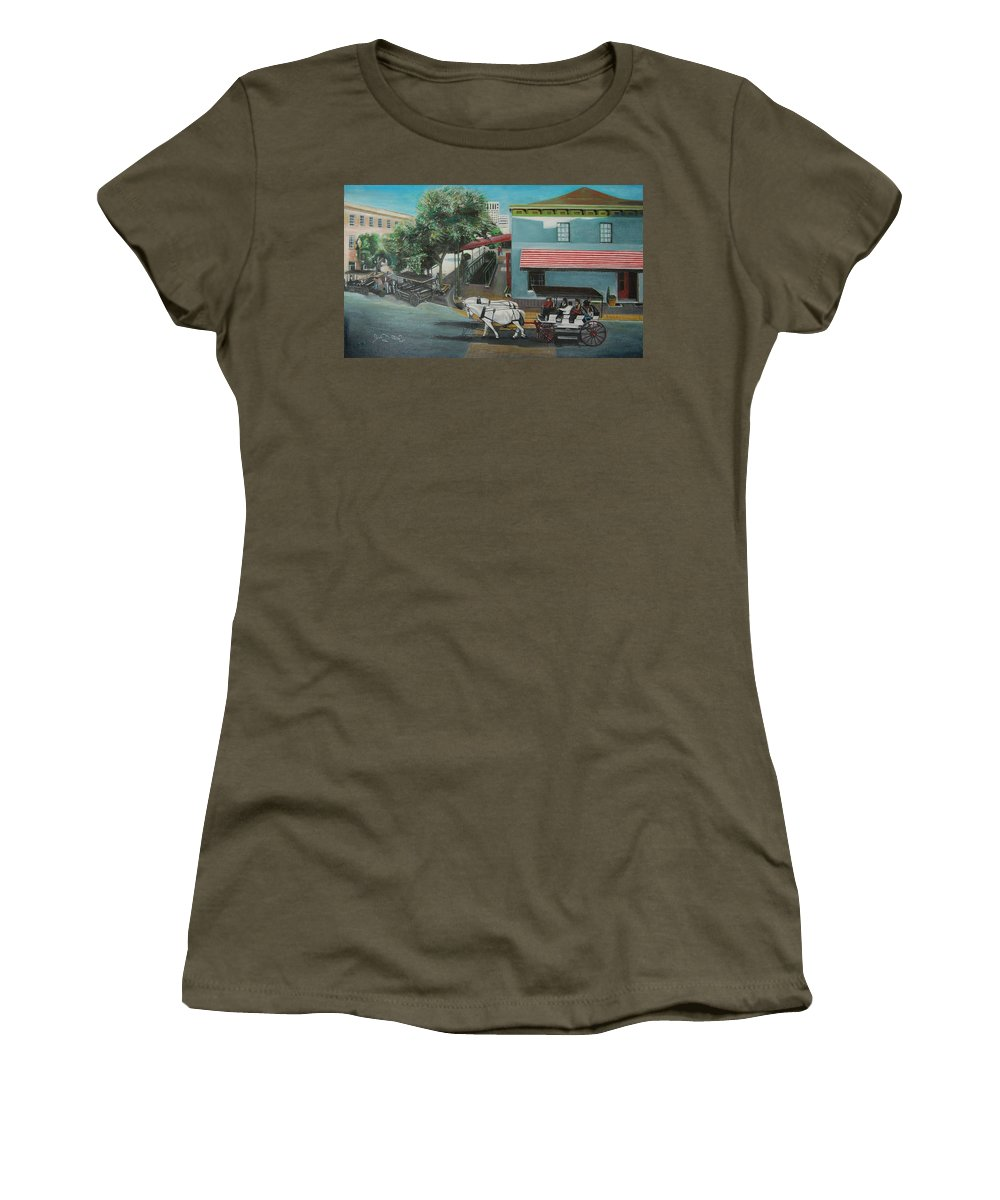Women's T-Shirt featuring the painting Savannah City Market by Jude Darrien