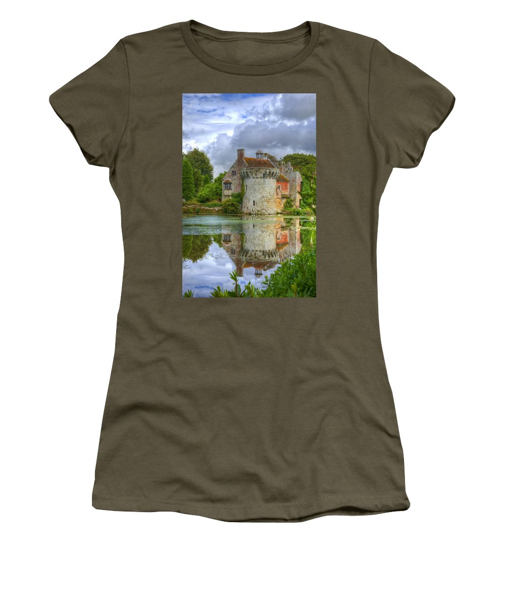 Architectural Women's T-Shirt featuring the photograph Scotney Castle Reflections by Chris Thaxter