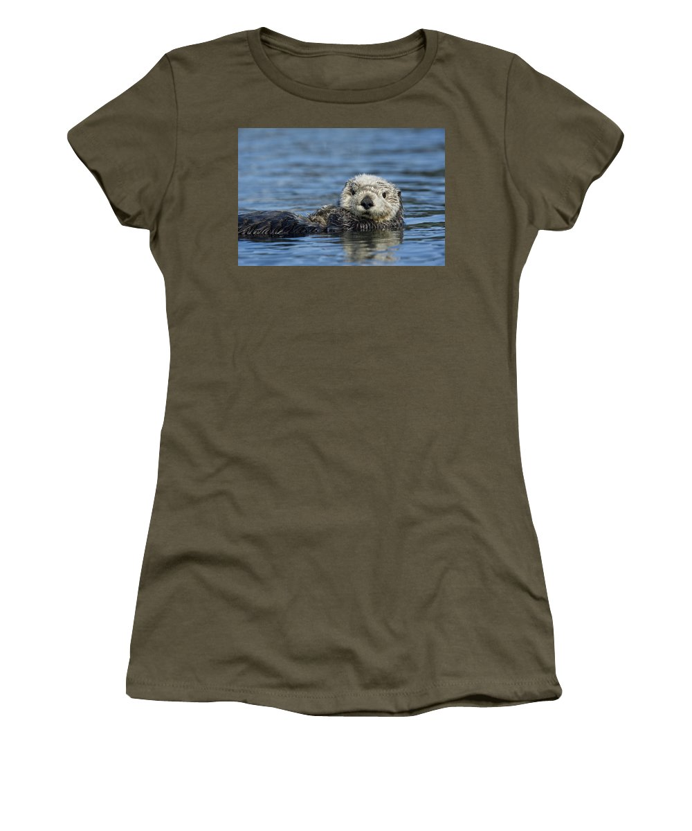 Michael Quinton Women's T-Shirt featuring the photograph Sea Otter Alaska by Michael Quinton