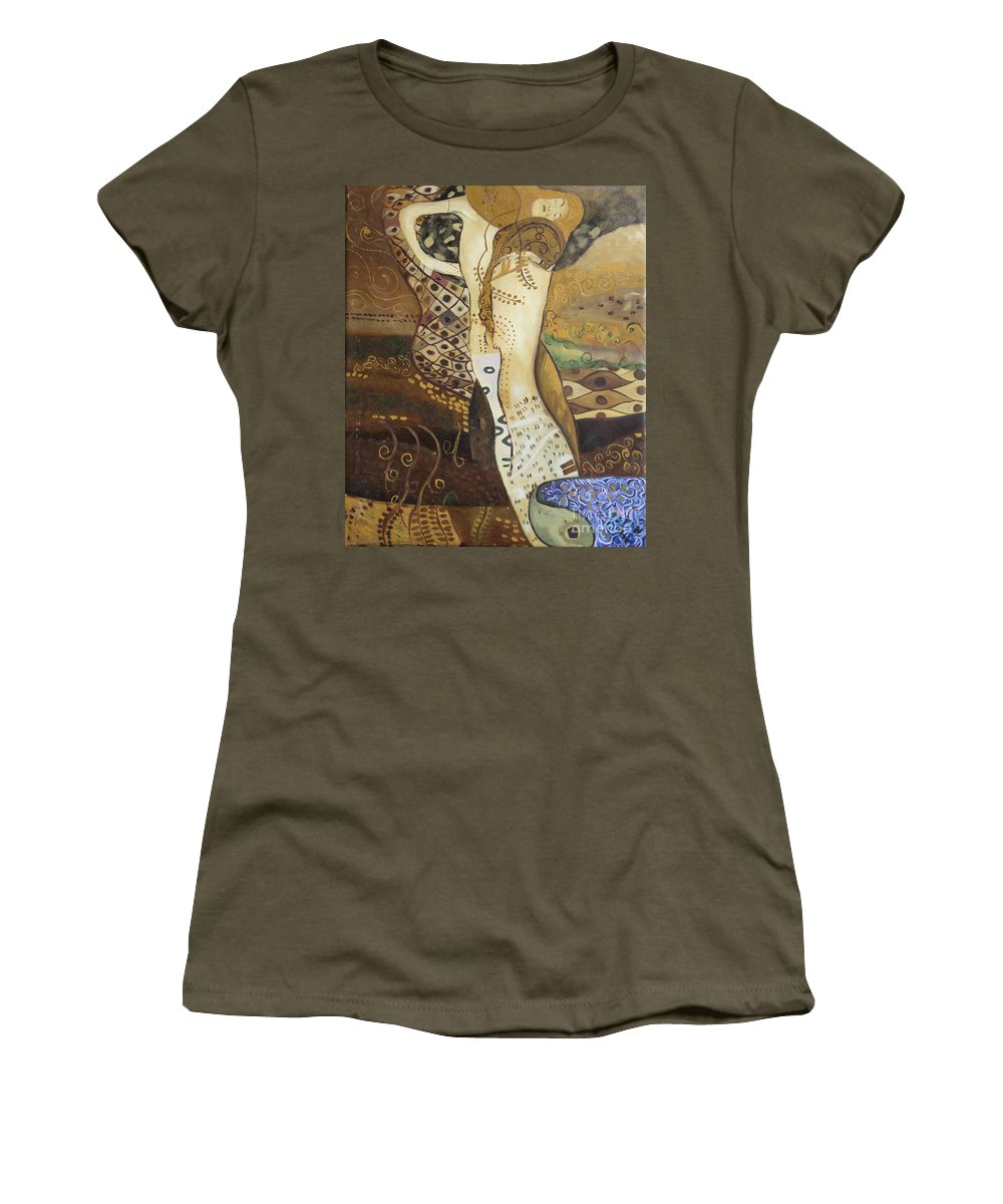 Klimt Women's T-Shirt (Athletic Fit) featuring the painting Seasnakes And Squiggles by Stefan Duncan