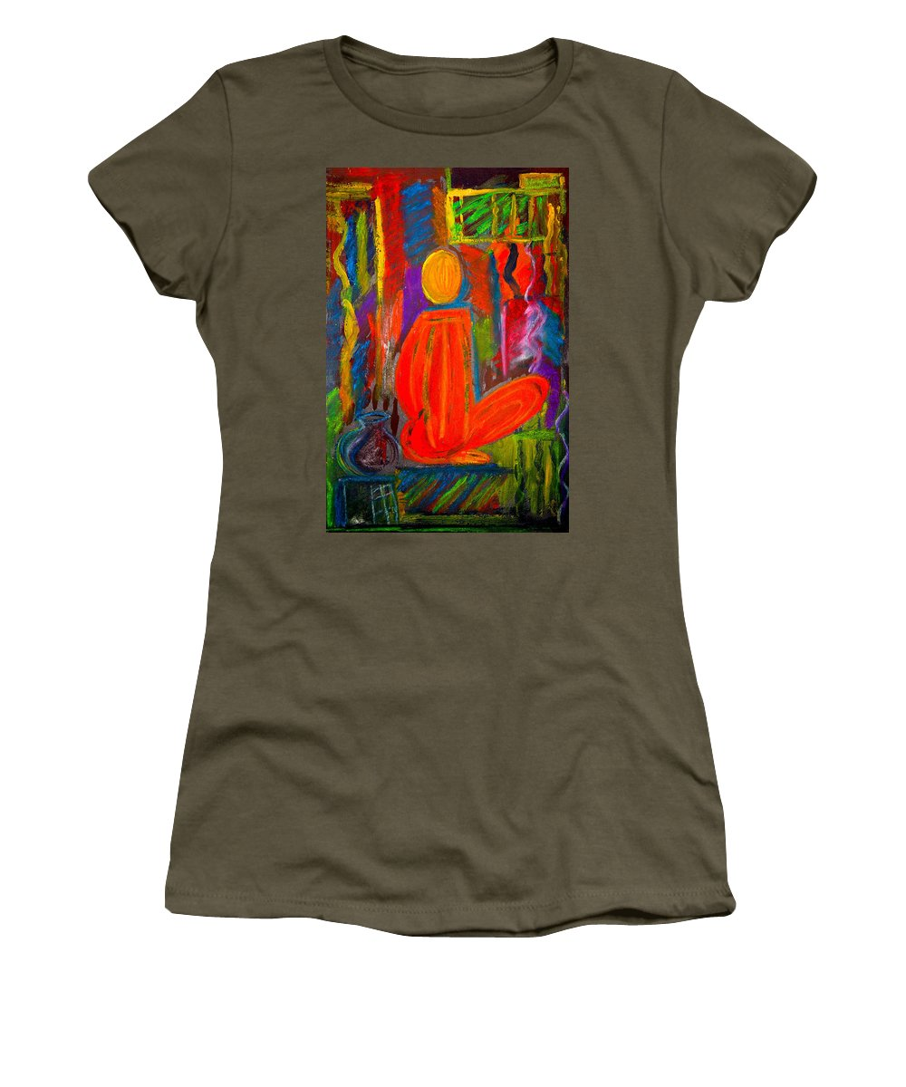 Abstract Women's T-Shirt featuring the painting Seated Monk by Nirdesha Munasinghe