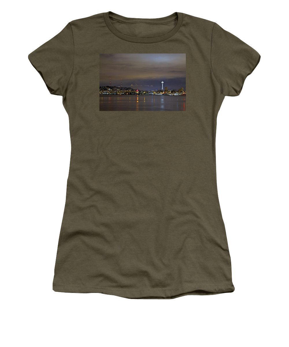 Night Photo Women's T-Shirt featuring the photograph Seattle Cityscape At Night by SC Heffner