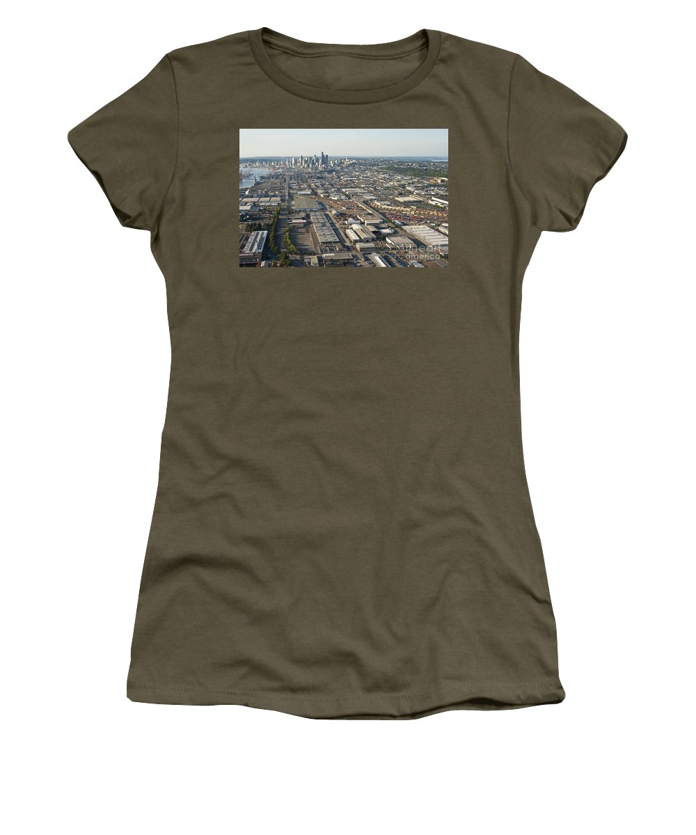 Elliott Bay Women's T-Shirt featuring the photograph Seattle Skyline And South Industrial Area by Jim Corwin