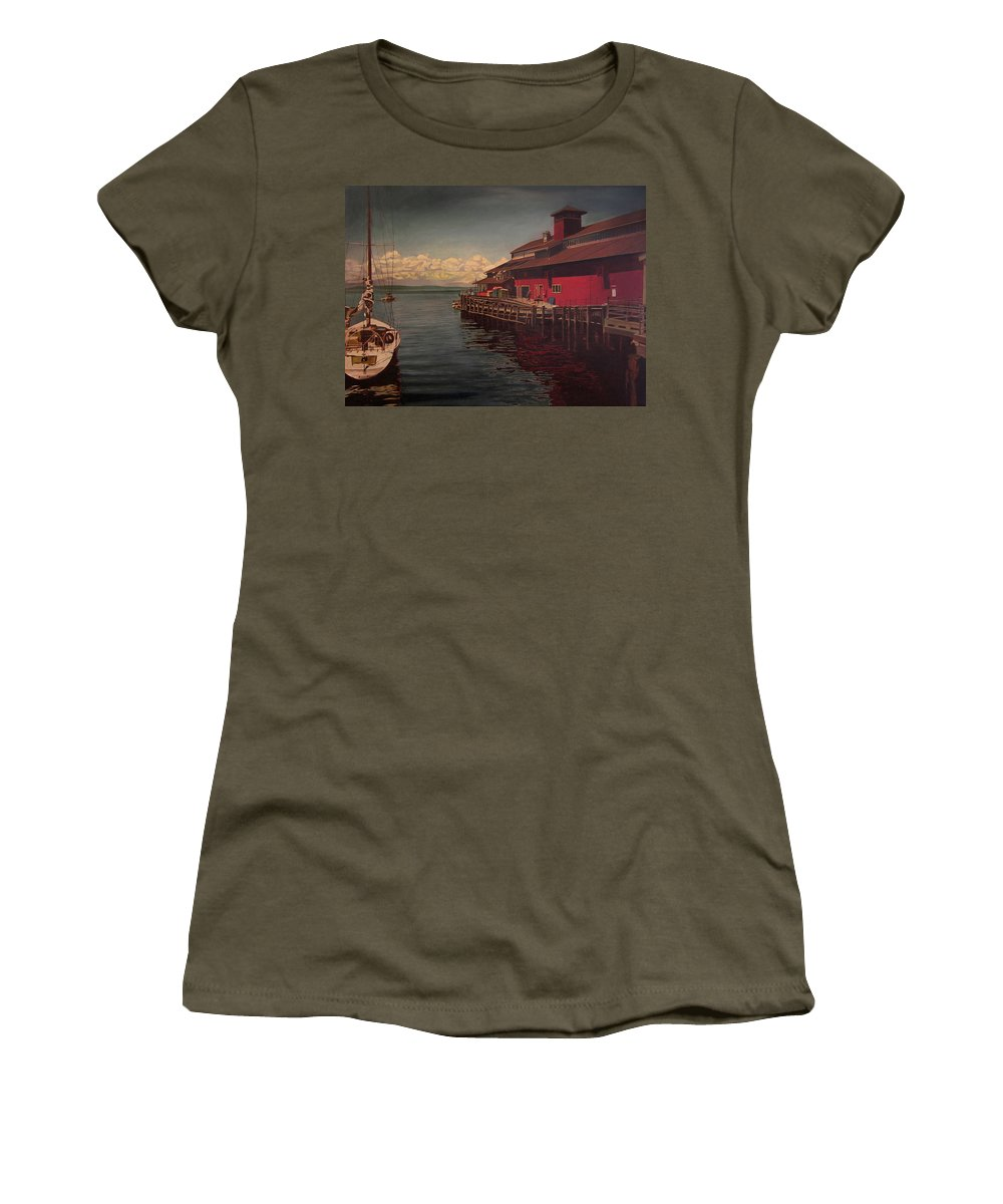 Marina Women's T-Shirt featuring the painting Seattle Waterfront by Thu Nguyen