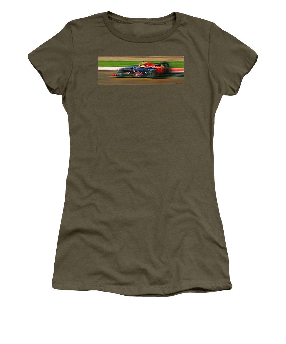 Sebastian Vettel Women's T-Shirt featuring the photograph Sebastian Vettel by Blake Richards