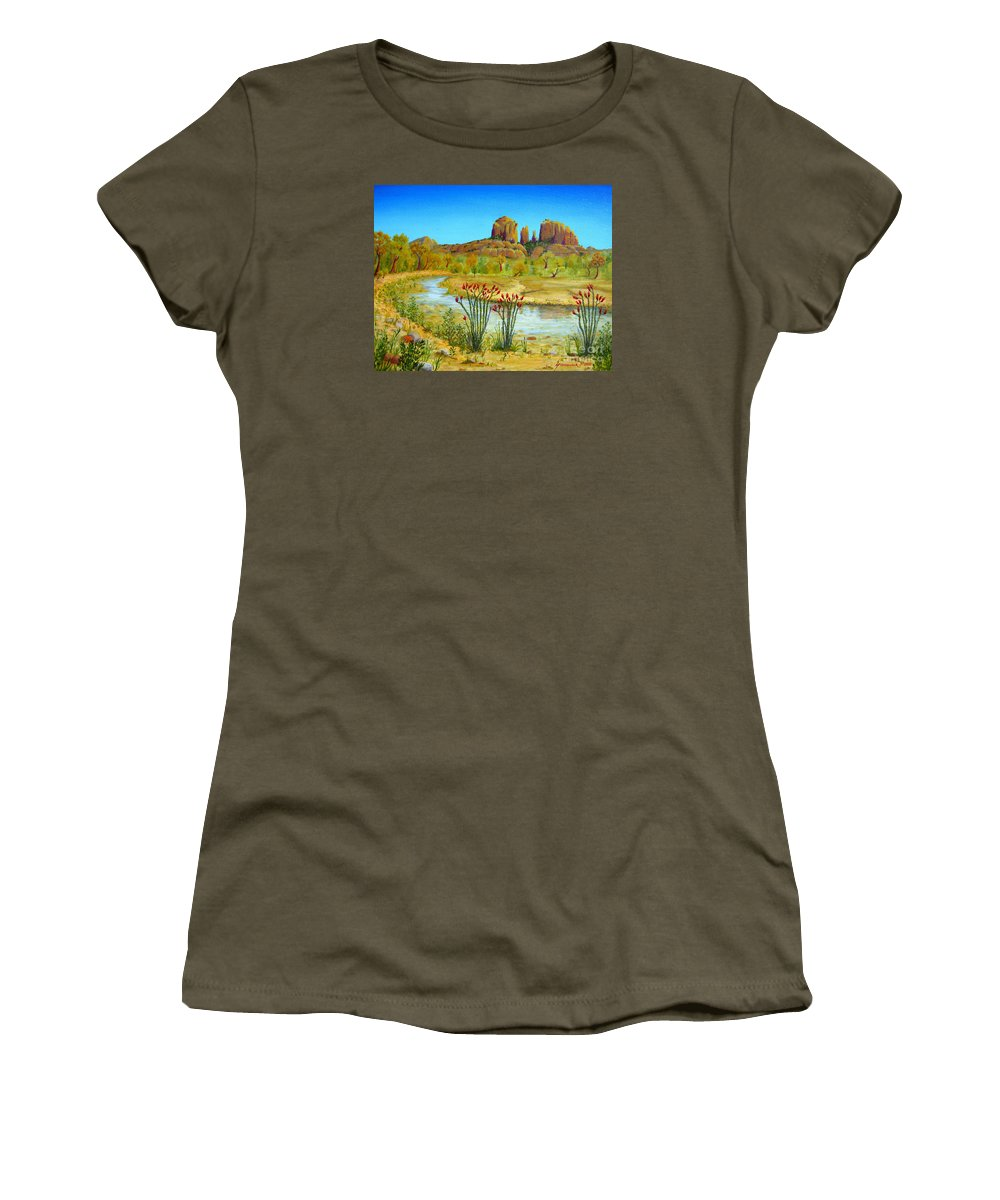 Sedona Women's T-Shirt (Athletic Fit) featuring the painting Sedona Arizona by Jerome Stumphauzer