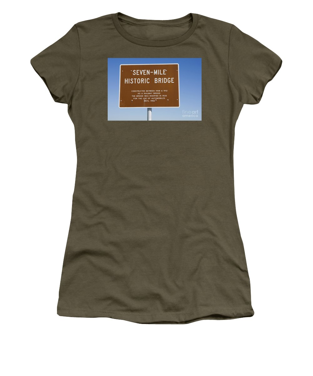 Seven-mile Historic Bridge Women's T-Shirt (Athletic Fit) featuring the photograph Seven Mile Bridge Florida Keys Sign by Jason O Watson