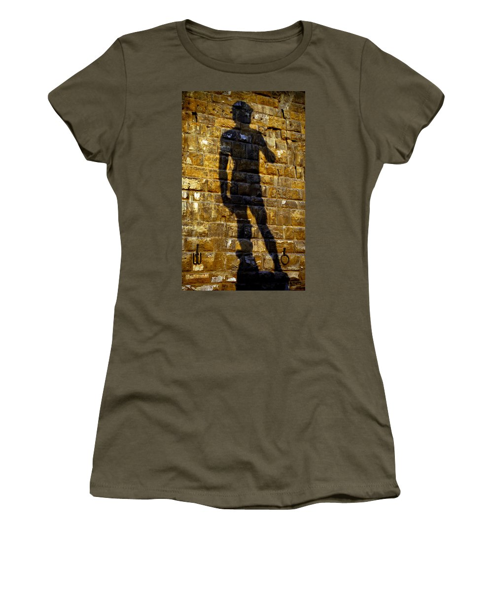 Shadow Women's T-Shirt (Athletic Fit) featuring the photograph Shadow Of Michaelangelo's David by Jenny Setchell