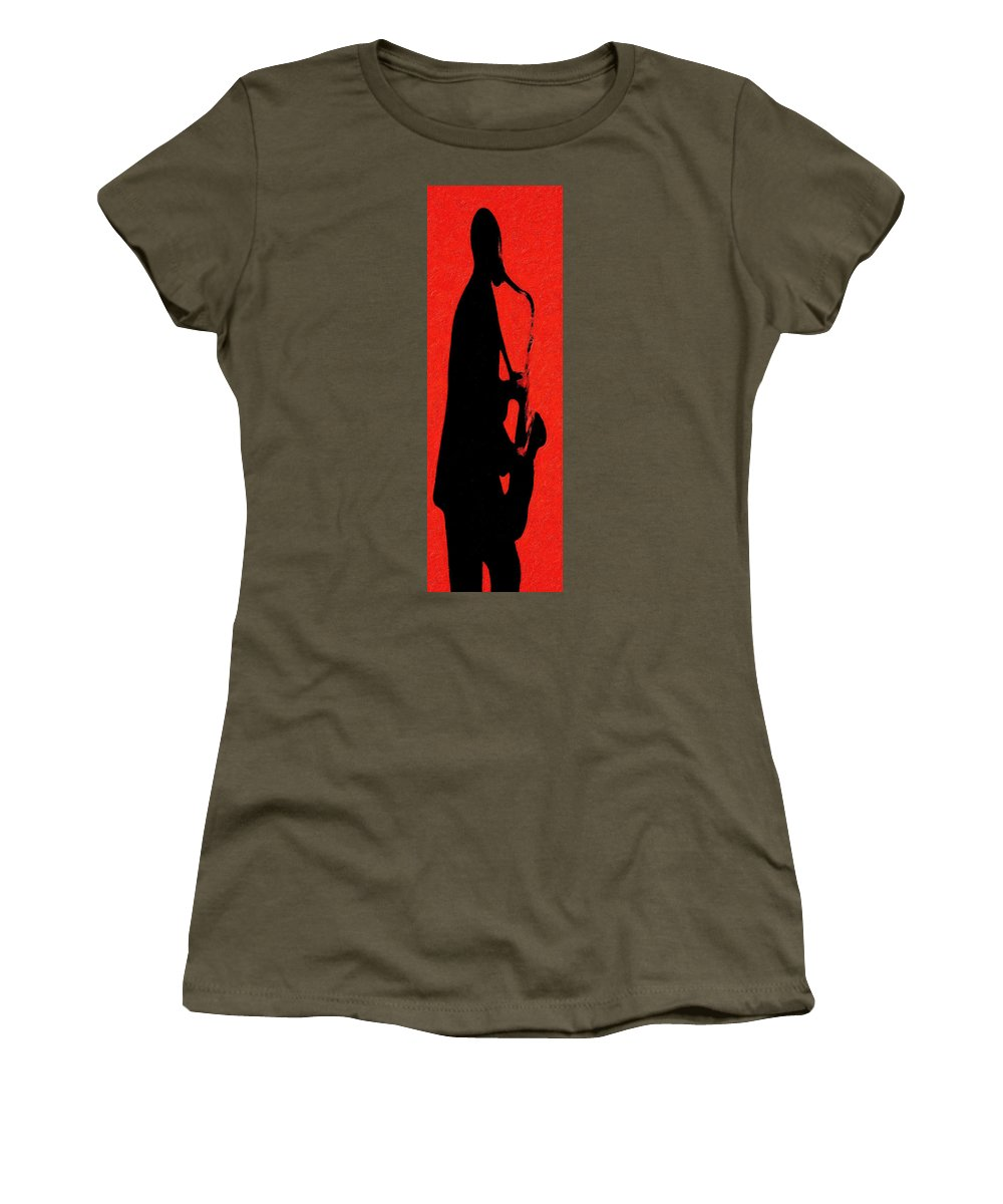 Music Women's T-Shirt featuring the digital art Shadow Sax by Terry Fiala