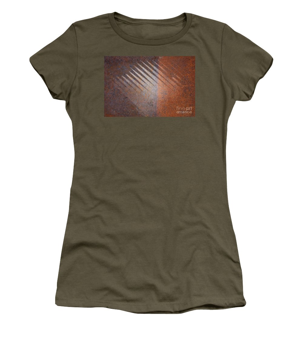 Rust Women's T-Shirt (Athletic Fit) featuring the photograph Shadows And Rust by Carol Groenen