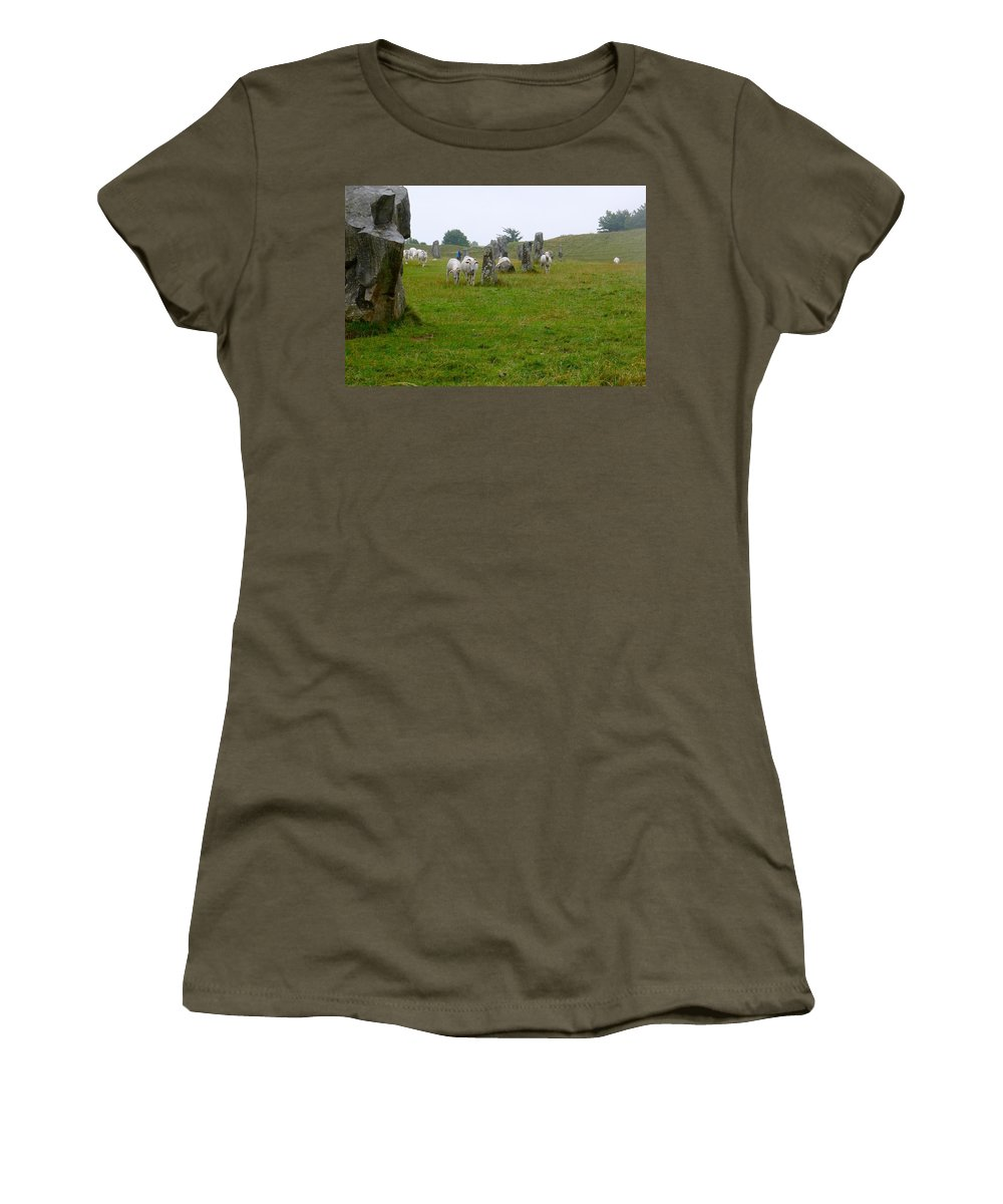 Avebury Women's T-Shirt featuring the photograph Sheep And Stones At Avebury by Denise Mazzocco