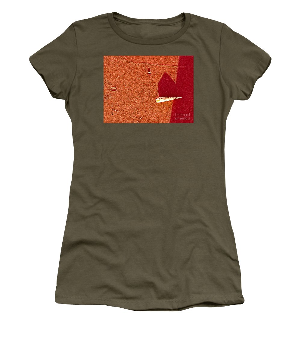 Abstract Women's T-Shirt featuring the photograph Shell And Sand Reddish Version by Fei A