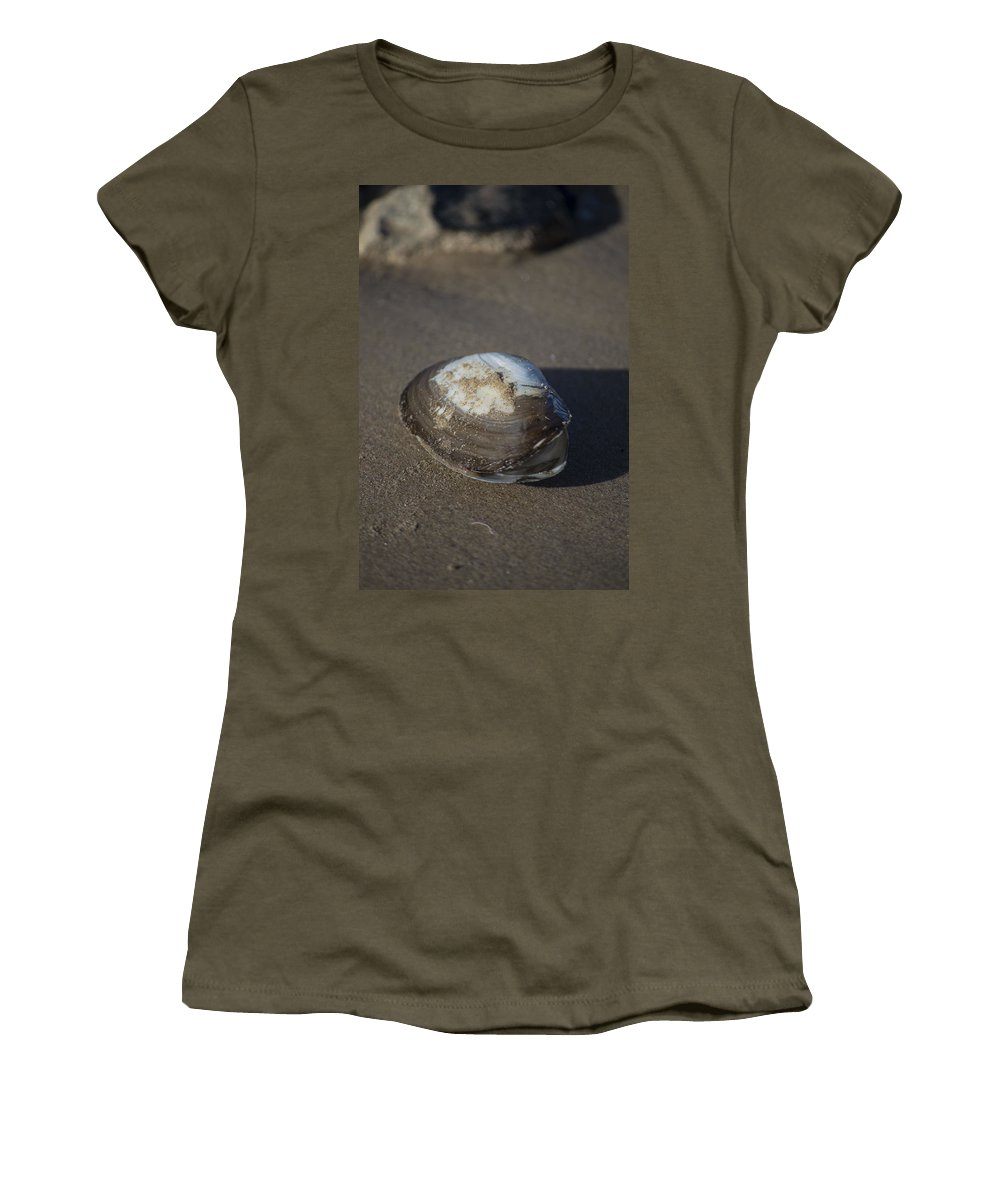 Sea Shell Women's T-Shirt (Athletic Fit) featuring the photograph Shell Or Someone's Dinner by Spikey Mouse Photography