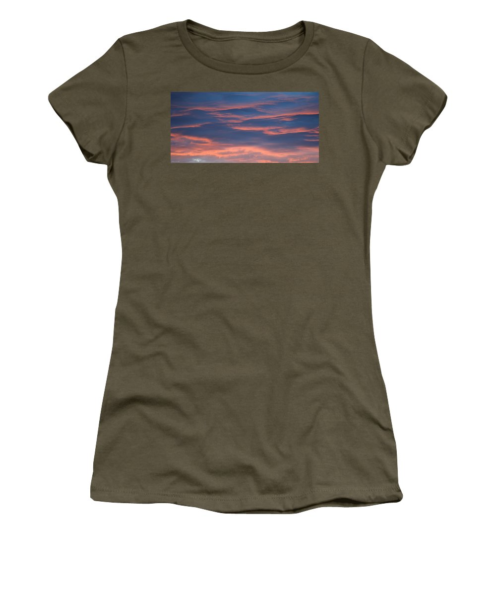 Evening Women's T-Shirt featuring the photograph Shimmering Clouds by Felicia Tica