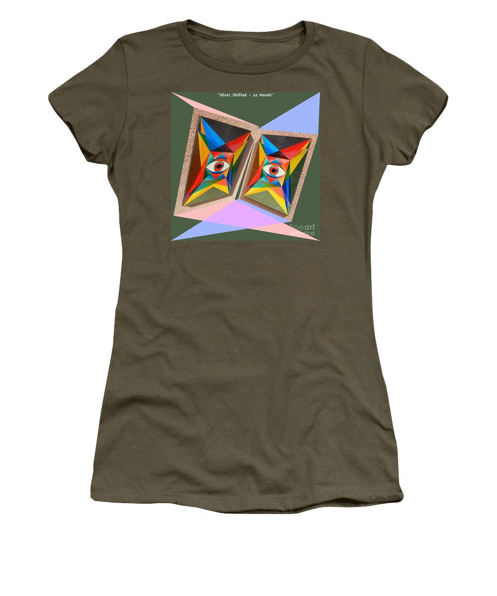 Spirituality Women's T-Shirt featuring the painting Shots Shifted - Le Monde 4 by Michael Bellon