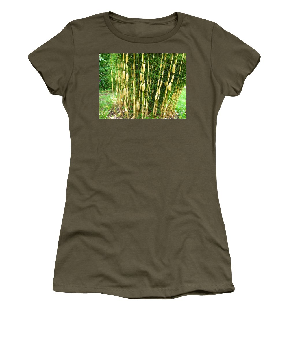 Shweeash Bamboo Women's T-Shirt featuring the painting Shweeash Bamboo 2 by Jeelan Clark