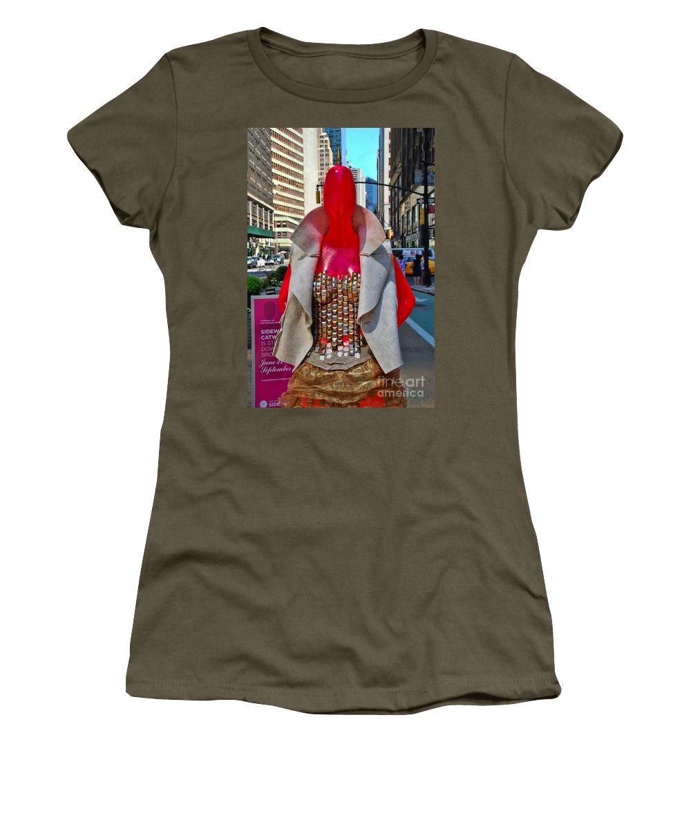 Broadway Catwalk Women's T-Shirt featuring the photograph Sidewalk Catwalk 8 by Allen Beatty