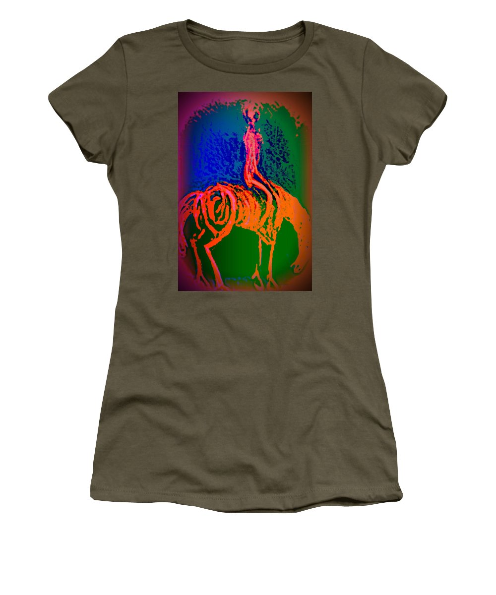 Horse Women's T-Shirt (Athletic Fit) featuring the painting Go Carefully When You See The Sign Of A Rider by Hilde Widerberg