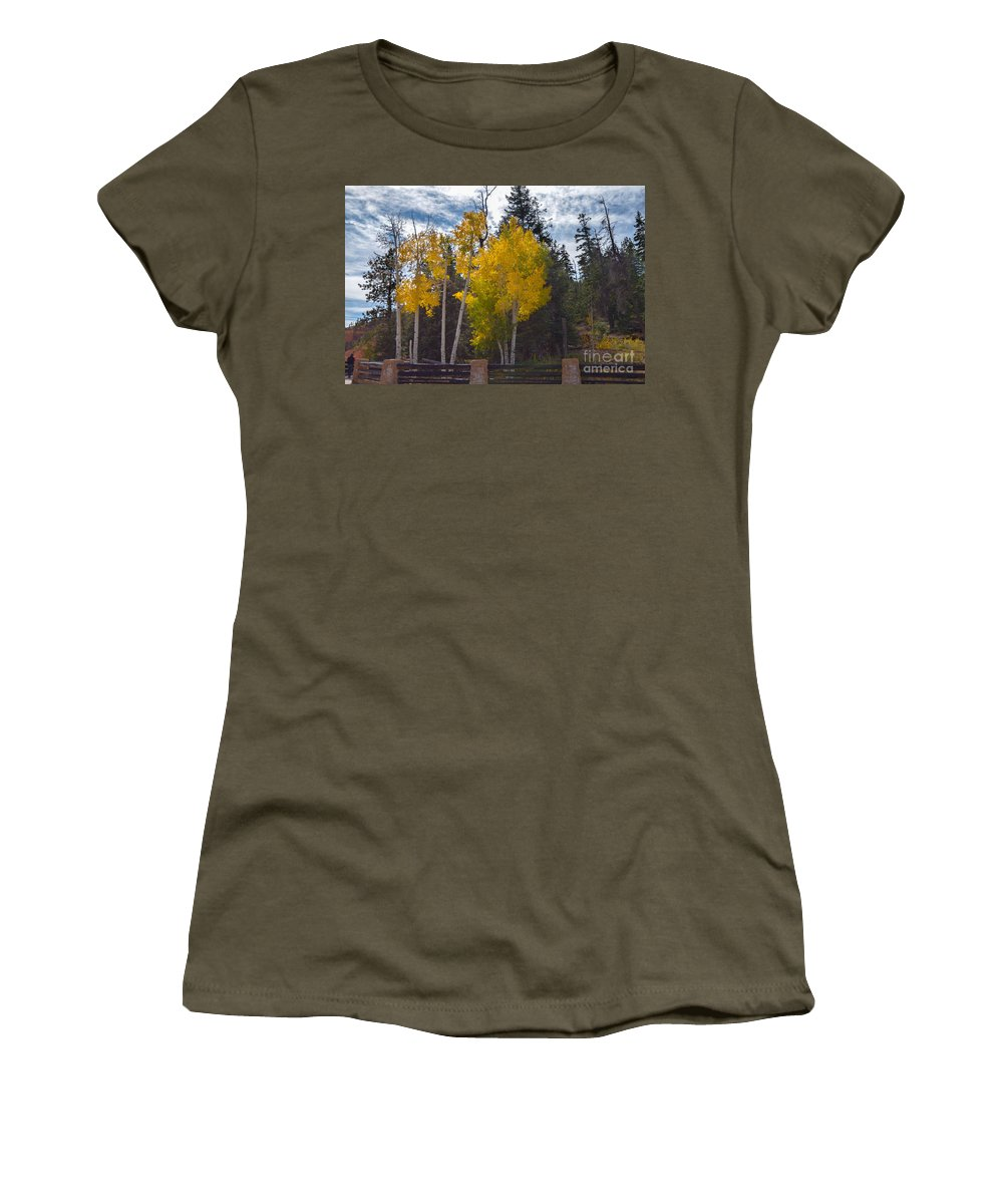 Brown Women's T-Shirt (Athletic Fit) featuring the photograph Signs Of Winter by Rich Priest