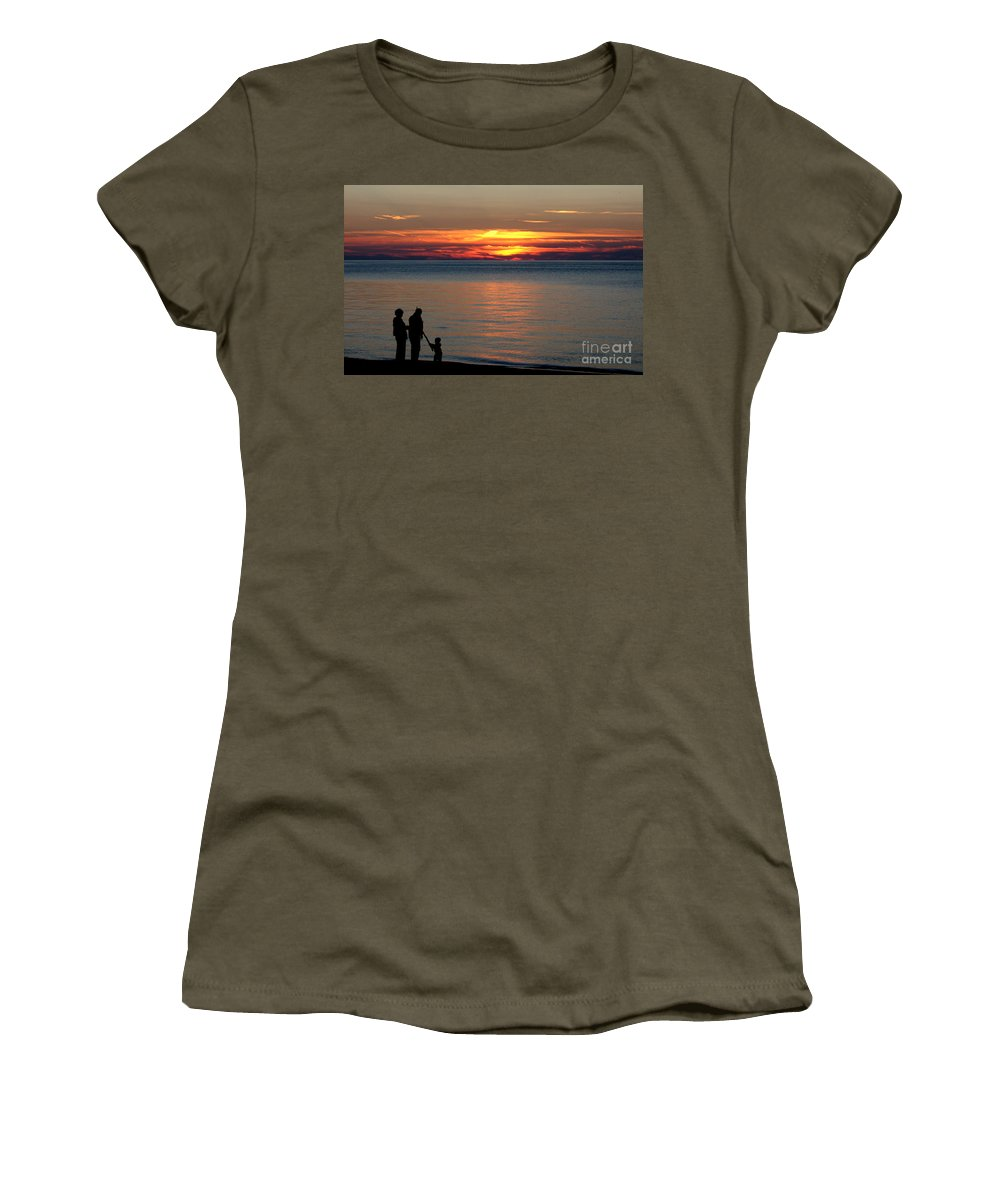 Silhouette Women's T-Shirt featuring the photograph Silhouetted In Sunset At Sturgeon Point Marina by Rose Santuci-Sofranko