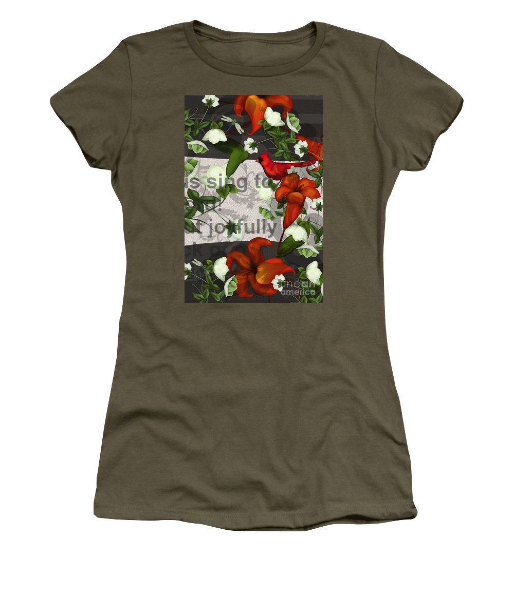 Floral Women's T-Shirt featuring the painting Sing Joyfully by Nancy Long