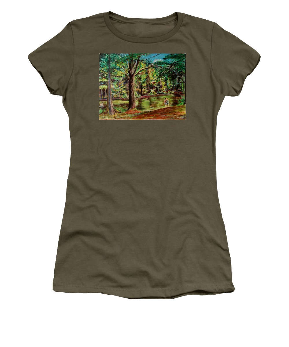 New Hampshire Women's T-Shirt (Athletic Fit) featuring the pastel Sisters At Wason Pond by Sean Connolly