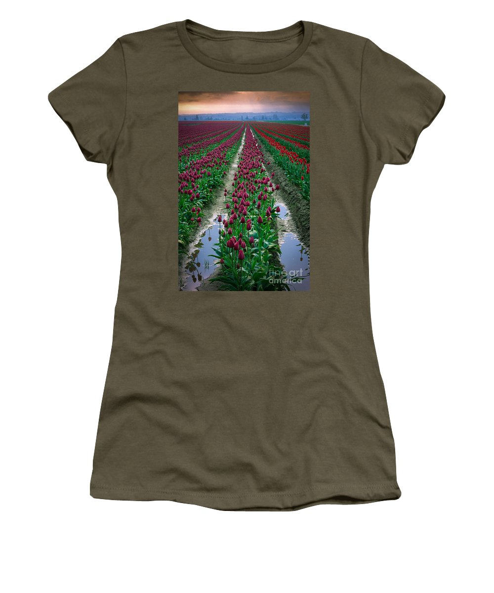 America Women's T-Shirt (Athletic Fit) featuring the photograph Skagit Valley Tulips by Inge Johnsson